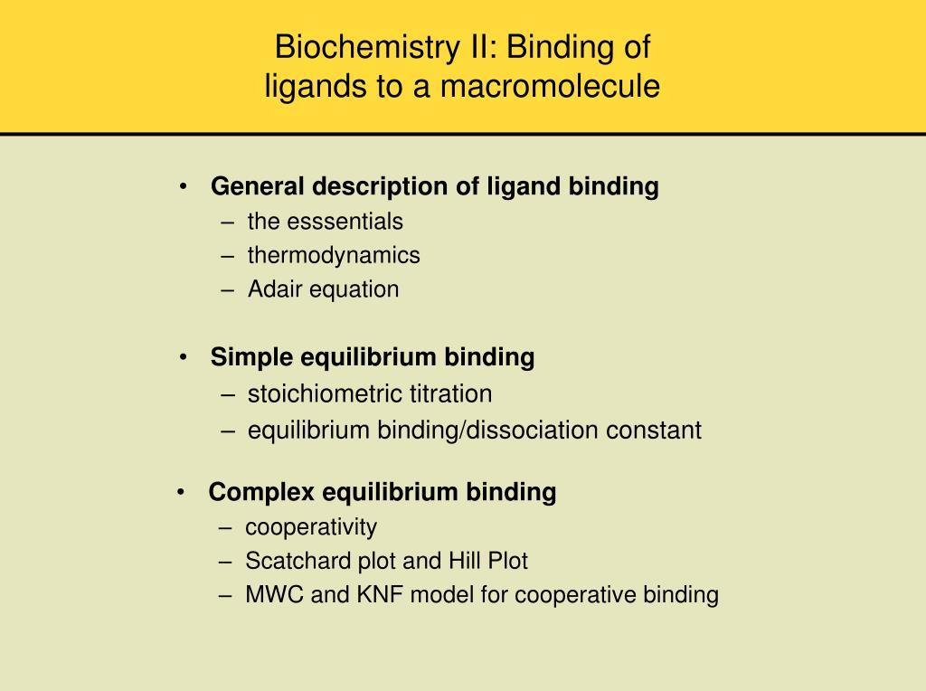 Biochemistry II: Binding of