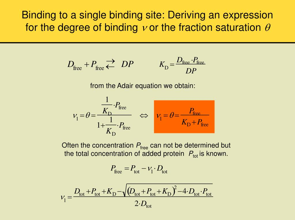 Binding to a single binding site: Deriving an expression