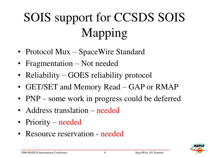 SOIS support for CCSDS SOIS Mapping