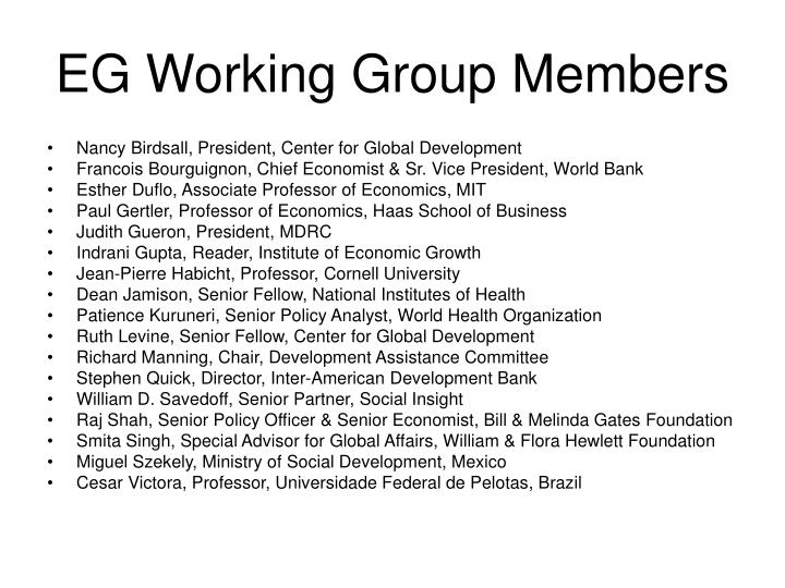 EG Working Group Members