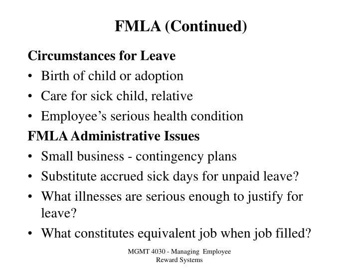 FMLA (Continued)