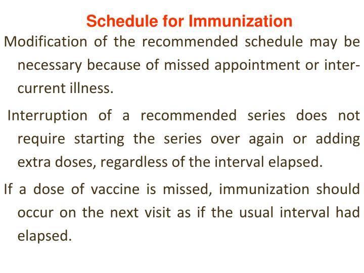 Schedule for Immunization