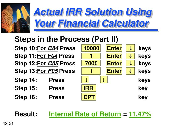 Actual IRR Solution Using Your Financial Calculator