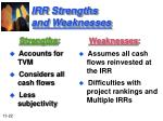 irr strengths and weaknesses