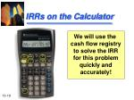 irrs on the calculator