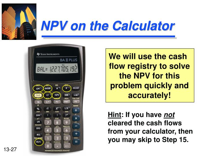 NPV on the Calculator