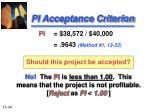 pi acceptance criterion