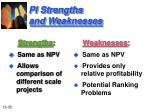 pi strengths and weaknesses