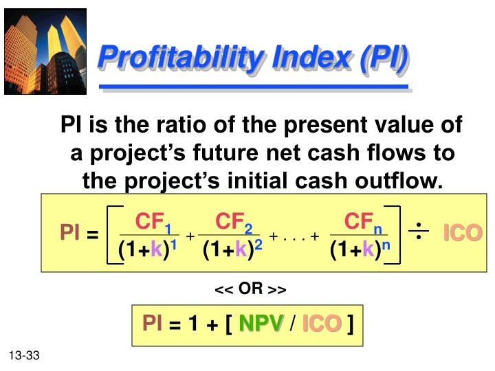 PI is the ratio of the present value of a project's future net cash flows to the project's initial cash outflow.