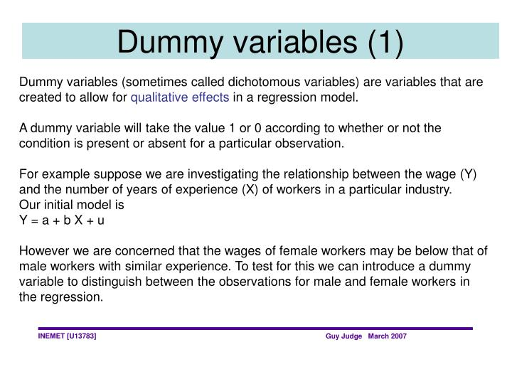 Dummy variables (1)