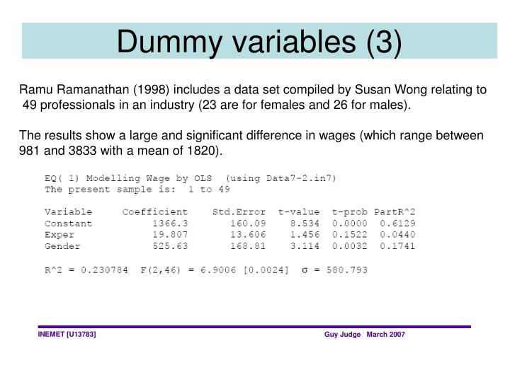 Dummy variables (3)