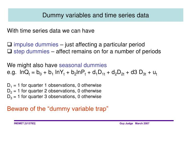 Dummy variables and time series data