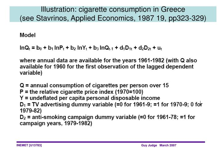 Illustration: cigarette consumption in Greece