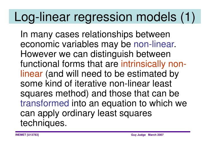 Log-linear regression models (1)