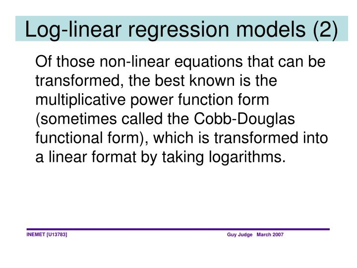 Log-linear regression models (2)