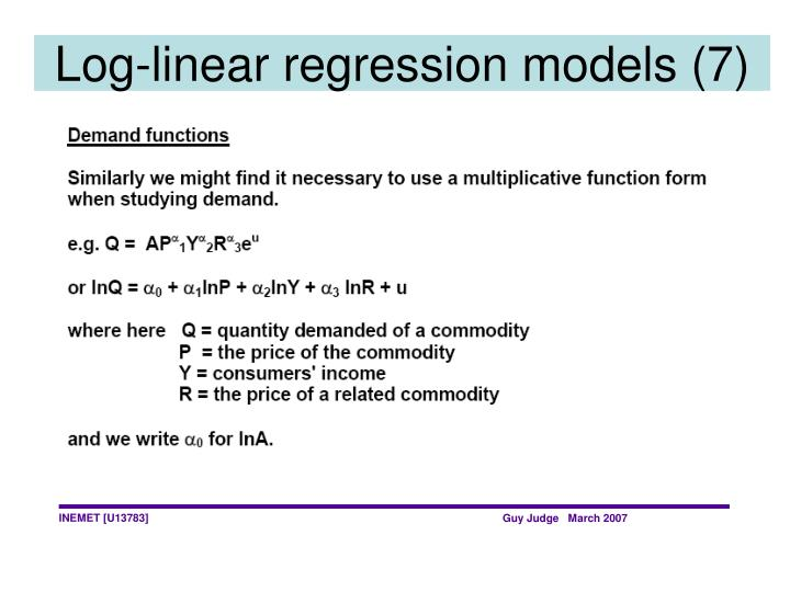 Log-linear regression models (7)