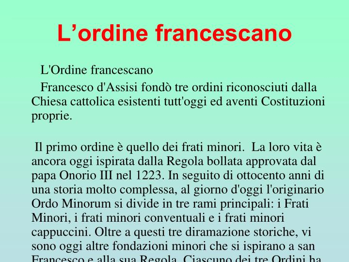 L'ordine francescano