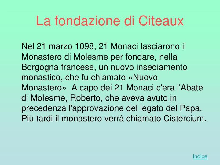 La fondazione di Citeaux