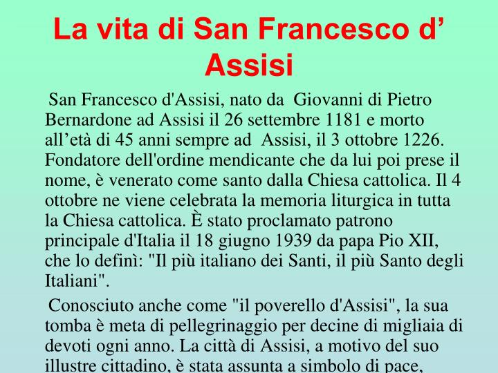 La vita di San Francesco d' Assisi
