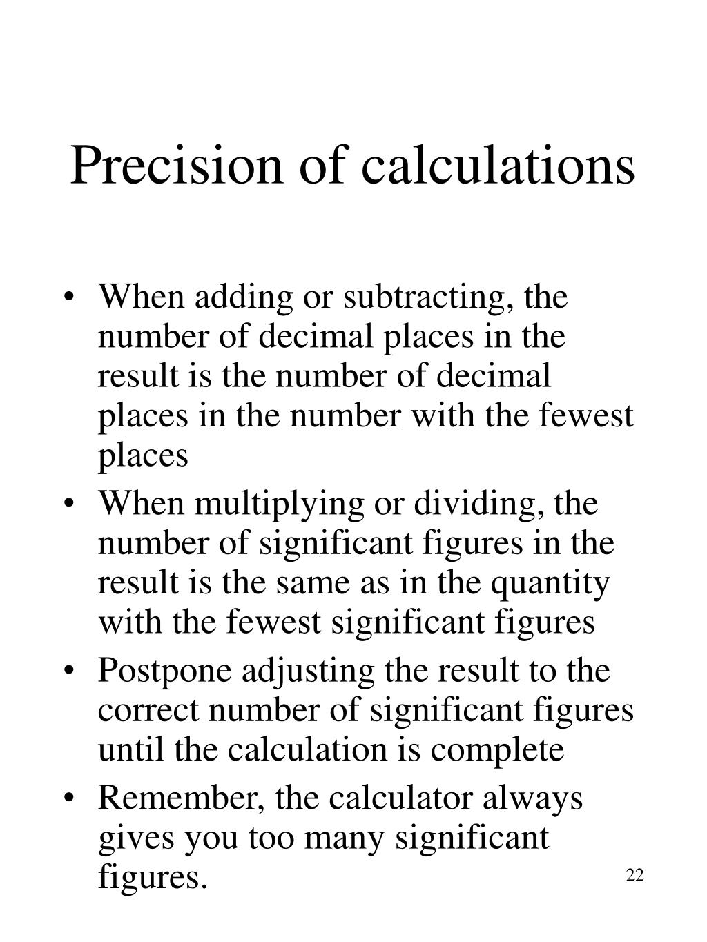 Precision of calculations