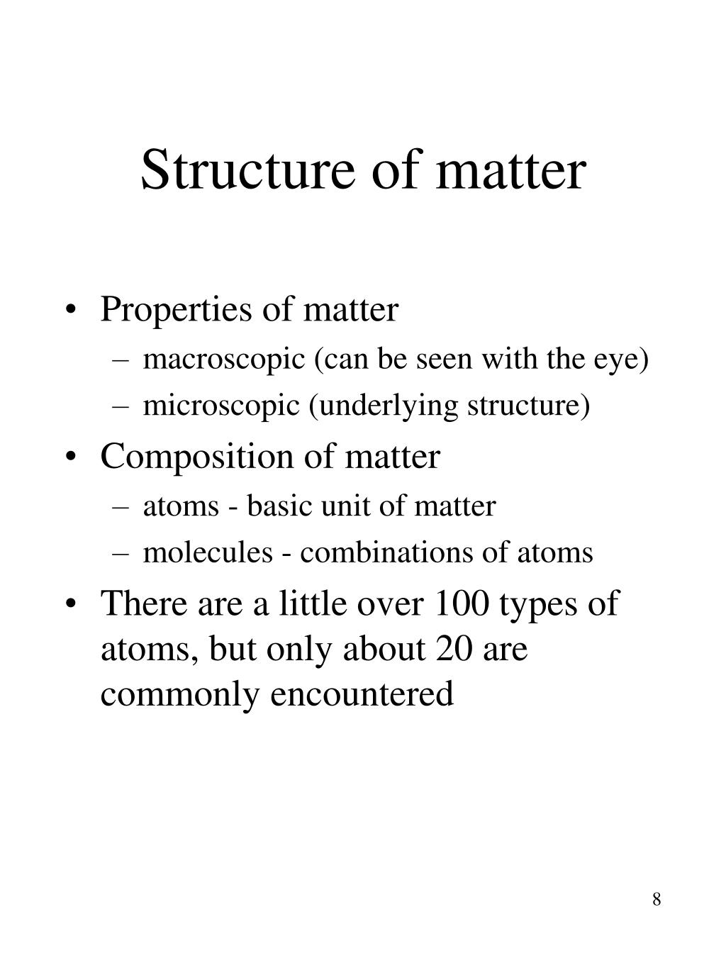 Structure of matter