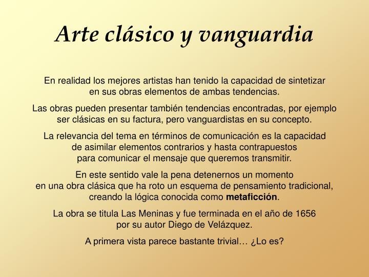 Arte clásico y vanguardia