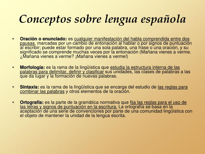 Conceptos sobre lengua española