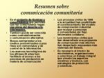 resumen sobre comunicaci n comunitaria