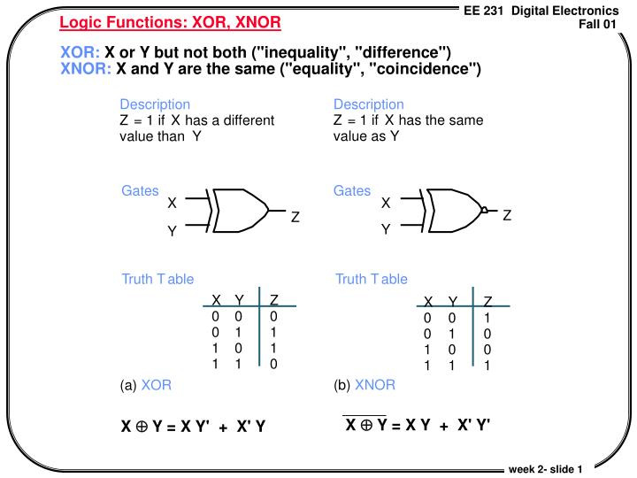 Logic functions xor xnor