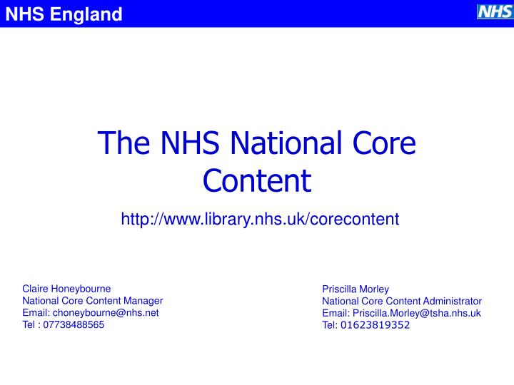 The nhs national core content
