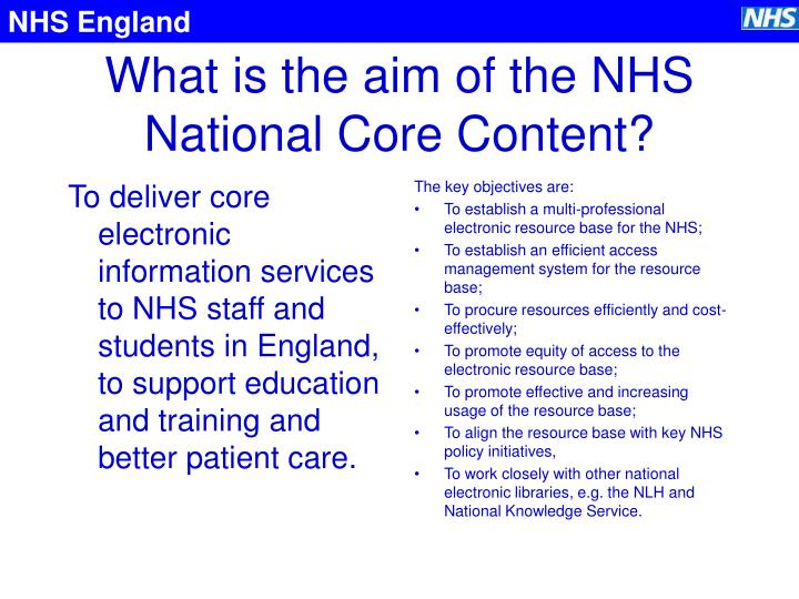 What is the aim of the nhs national core content
