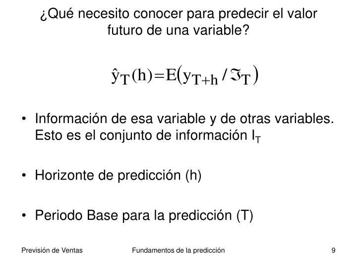 ¿Qué necesito conocer para predecir el valor futuro de una variable?
