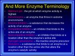 and more enzyme terminology