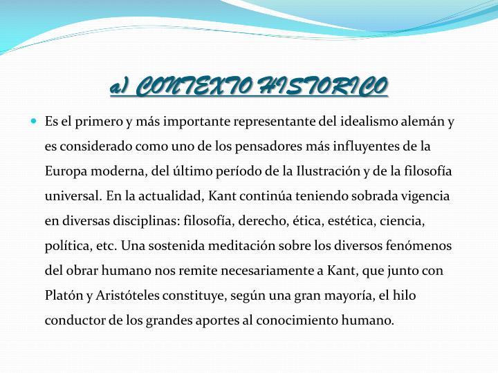 a) CONTEXTO HISTORICO