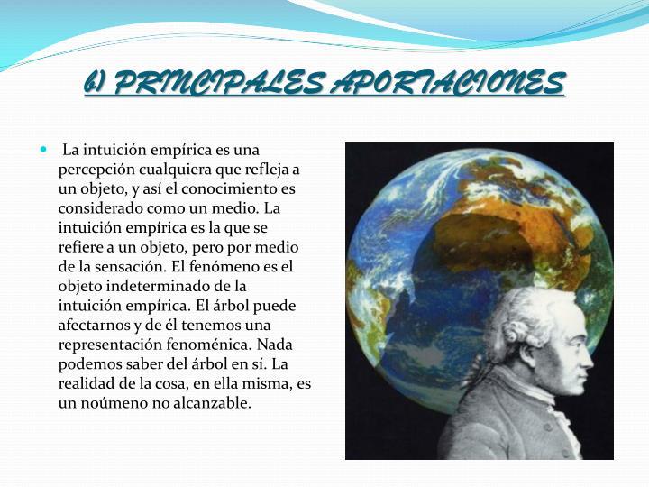 b) PRINCIPALES APORTACIONES