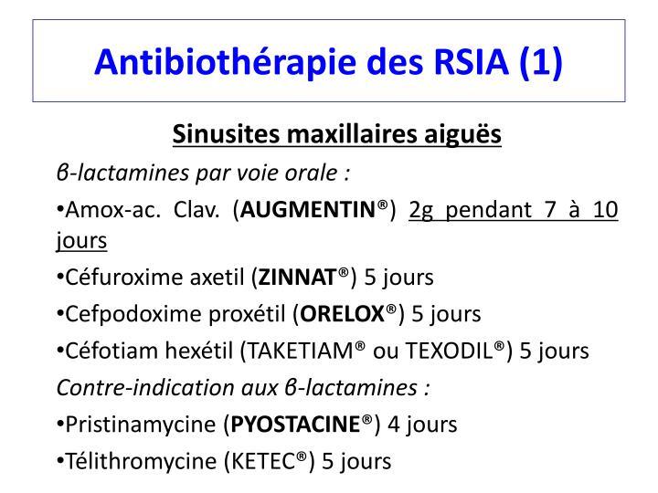 Antibiothérapie des RSIA (1)
