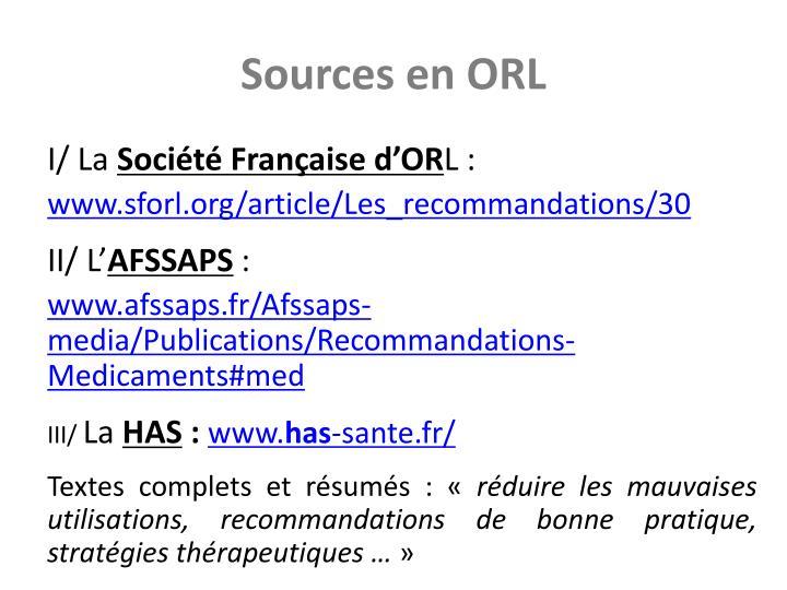 Sources en ORL