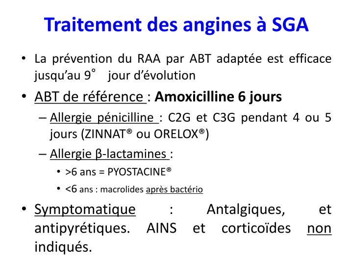Traitement des angines à SGA