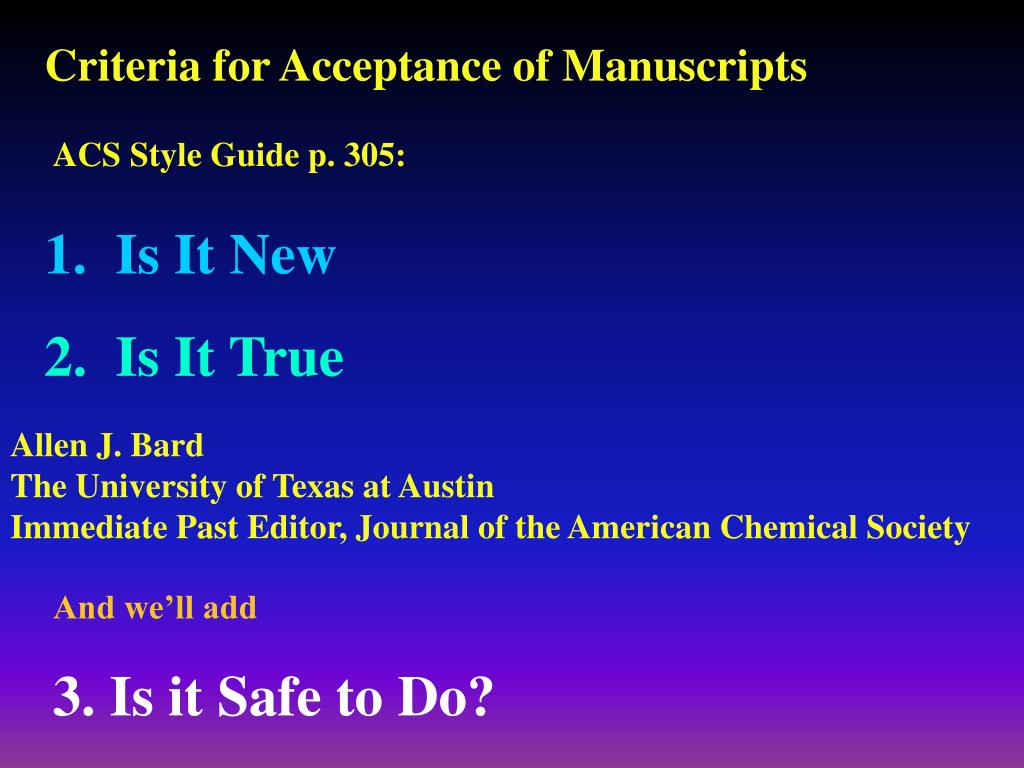 Criteria for Acceptance of Manuscripts