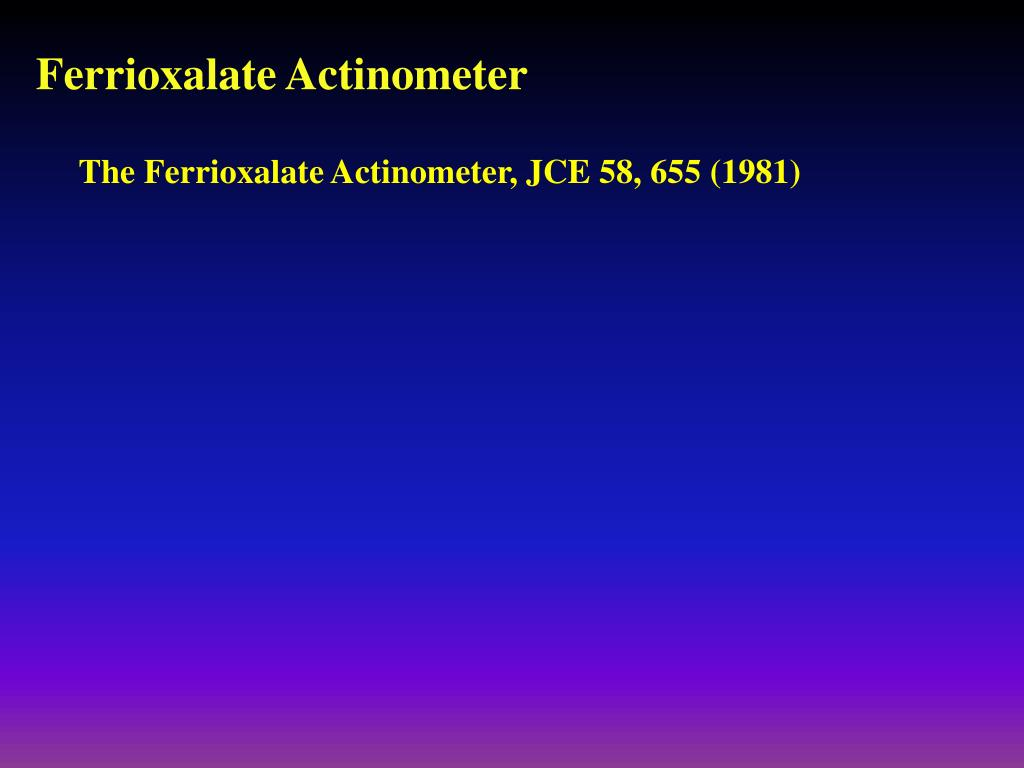 Ferrioxalate Actinometer