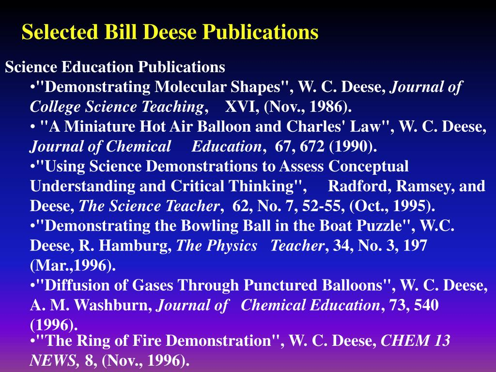 Selected Bill Deese Publications
