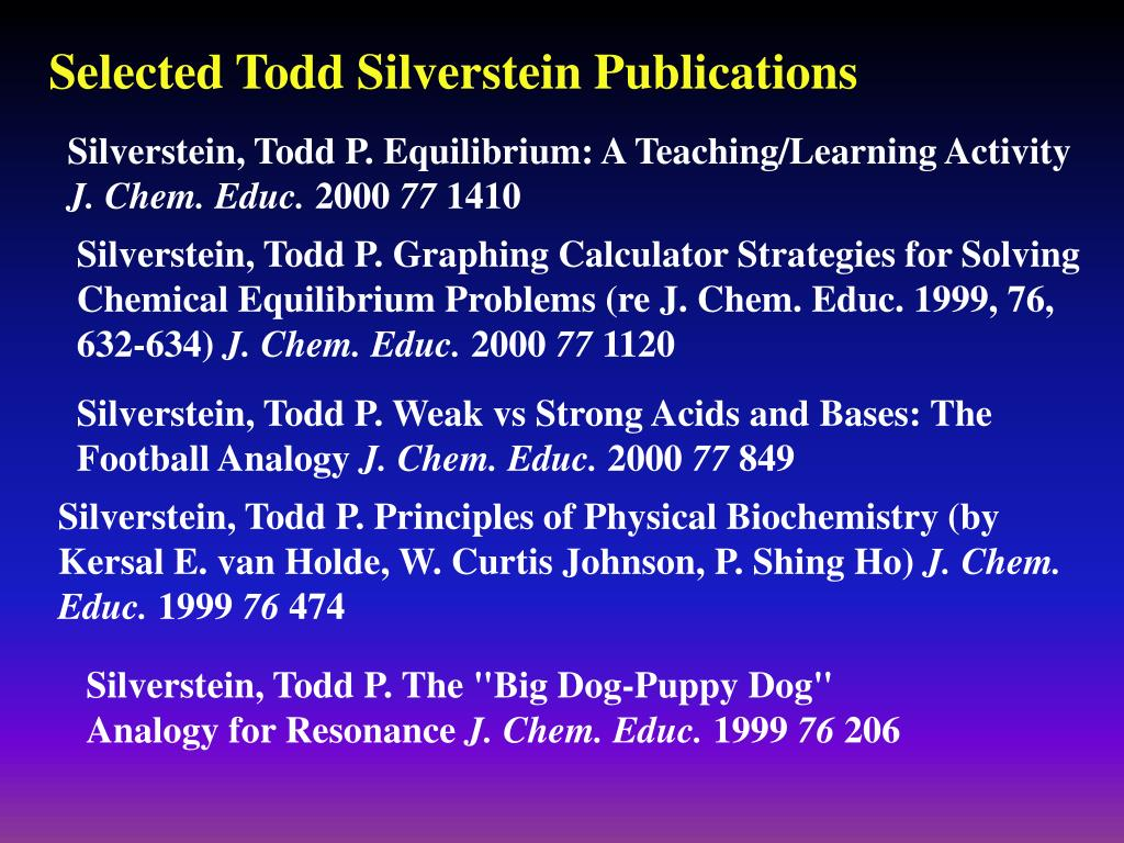 Selected Todd Silverstein Publications