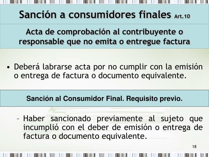 Sanción a consumidores finales