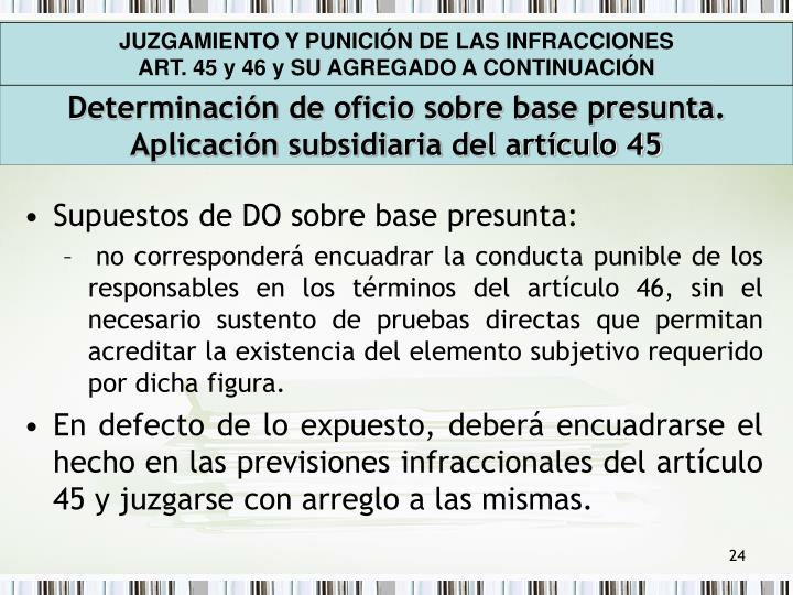 JUZGAMIENTO Y PUNICIÓN DE LAS INFRACCIONES