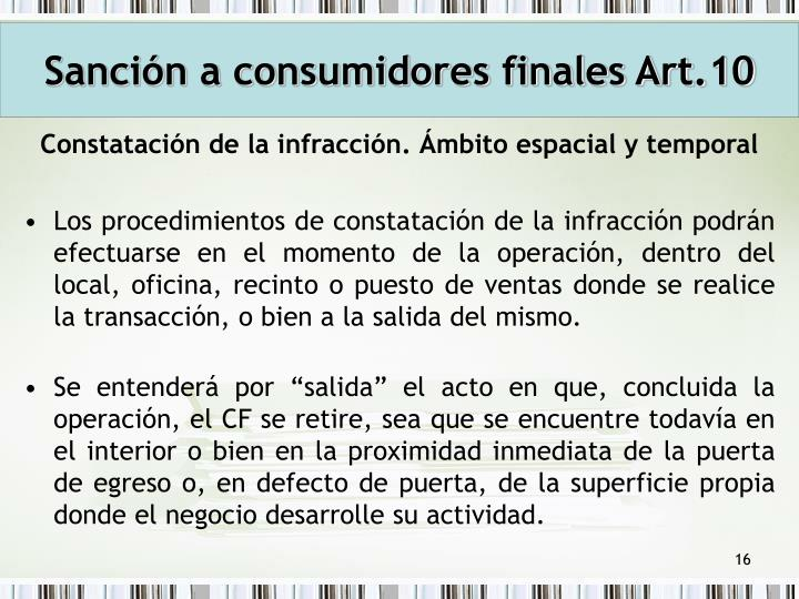 Sanción a consumidores finales Art.10