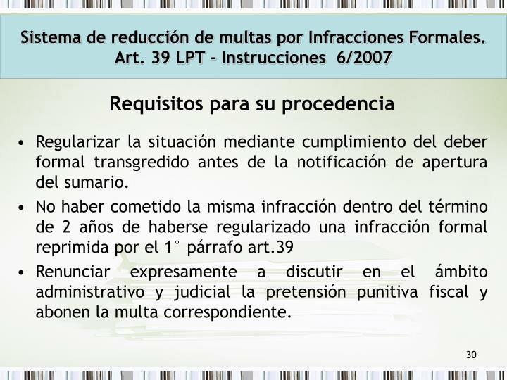 Sistema de reducción de multas por Infracciones Formales.