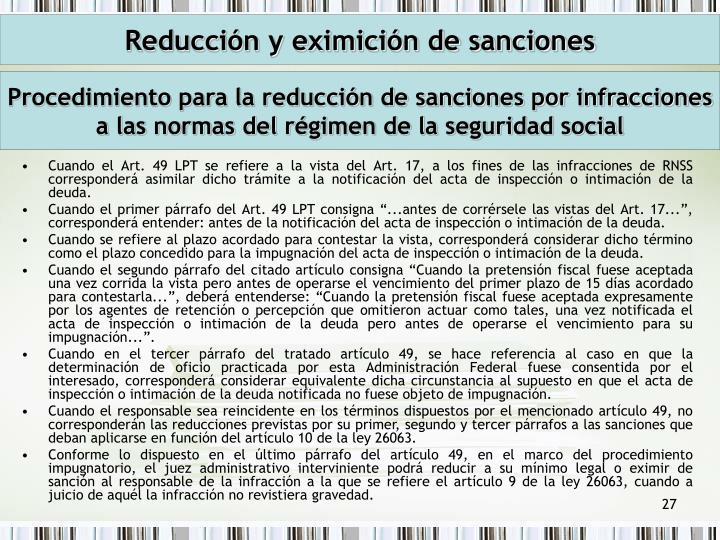 Reducción y eximición de sanciones