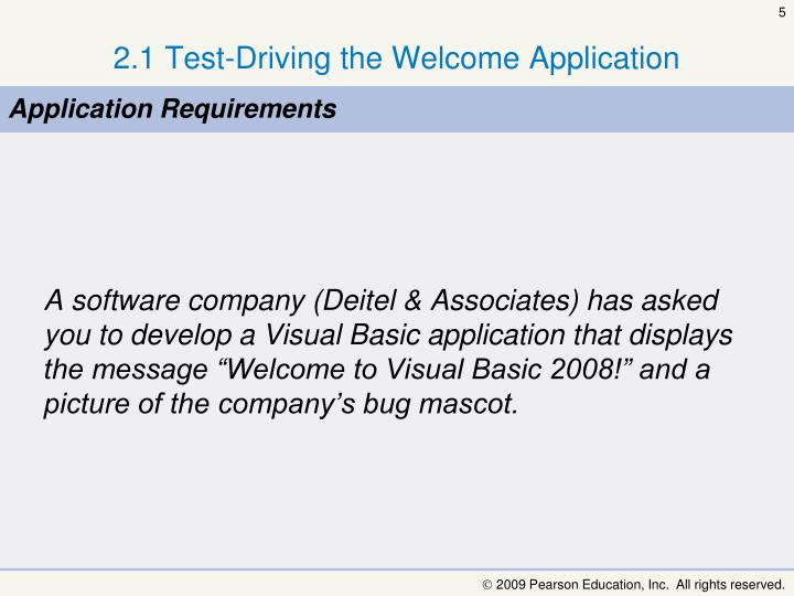 2.1 Test-Driving the Welcome Application