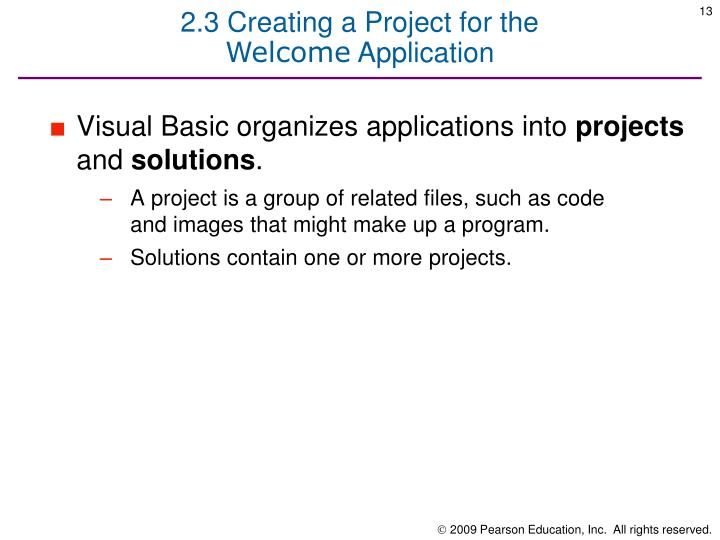 2.3 Creating a Project for the