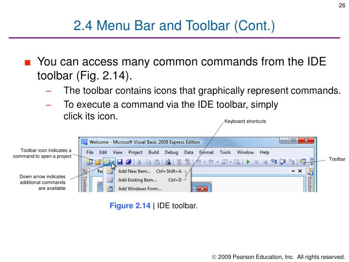 2.4 Menu Bar and Toolbar (Cont.)